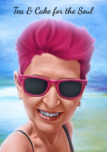 carton pic of woman with short pink hair and pink sunglasses with Tea & Cake for the Soul text