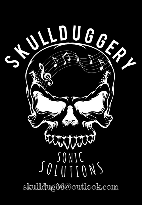 advert with white skull and skullduggery text